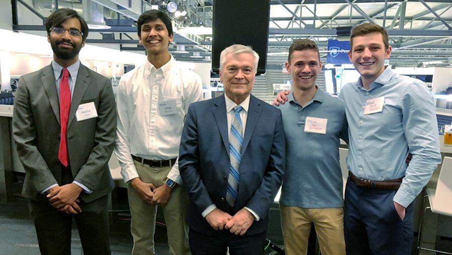 LionPad team members: Nikhil Nayyar, Ishan Muzumdar, Neil Ashtekar and Jack Mentch with Penn State President Eric Barron.